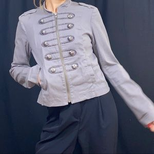 Grey Military style jacket front zipper